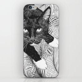 cat in black and white III iPhone Skin