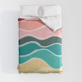 Vintage 50s Palette Mid-Century Minimalist Waves Abstract Art Comforters