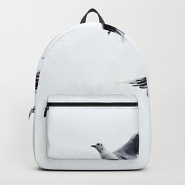 Two seagull birds flying in a sky Backpack