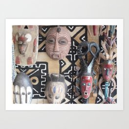 African Mask display on fabric collection Art Print
