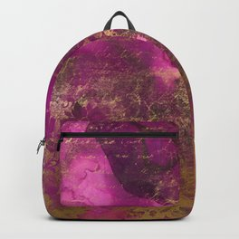 Pretty Pink Watercolor With Distressed Gold Floral and Script Backpack