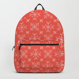 Embroidery Snowflake Stitches Seamless Vector Pattern. Cross Stitch Ice I Backpack