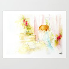 Girl studying Art Print