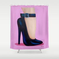 battlefield Shower Curtains featuring Pink Lady by Little Bunny Sunshine