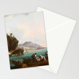 Andrés Cortés y Aguilar , Washerwomen and Fishermen in a Coastal Landscape 1863 Stationery Cards