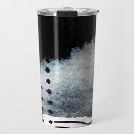 Closer - a black, blue, and white abstract piece Travel Mug