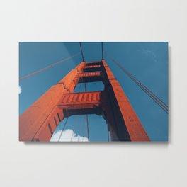 Looking up Going Over The Bridge Metal Print