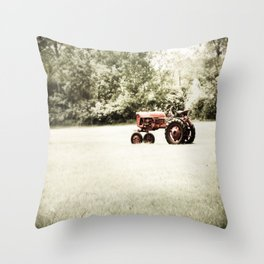 Vintage Red Tractor Throw Pillow