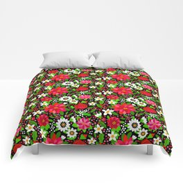 Christmas Flowers and Holly, Poinsettia, Roses and Lilies, holidays, girls floral gift, gift for mom Comforters