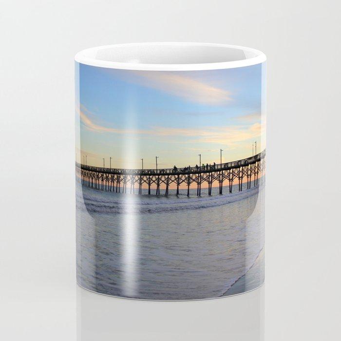 Fishing From Pier At Sunset Coffee Mug