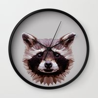 raccoon Wall Clocks featuring Raccoon by Roxy Color