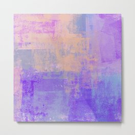 Grungy Purple, Pink, Blue and Salmon Abstract Metal Print