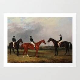 John Dalby (1810-1865)  A chestnut and two bay racehorses belonging to John Bowes with jockeys up Art Print