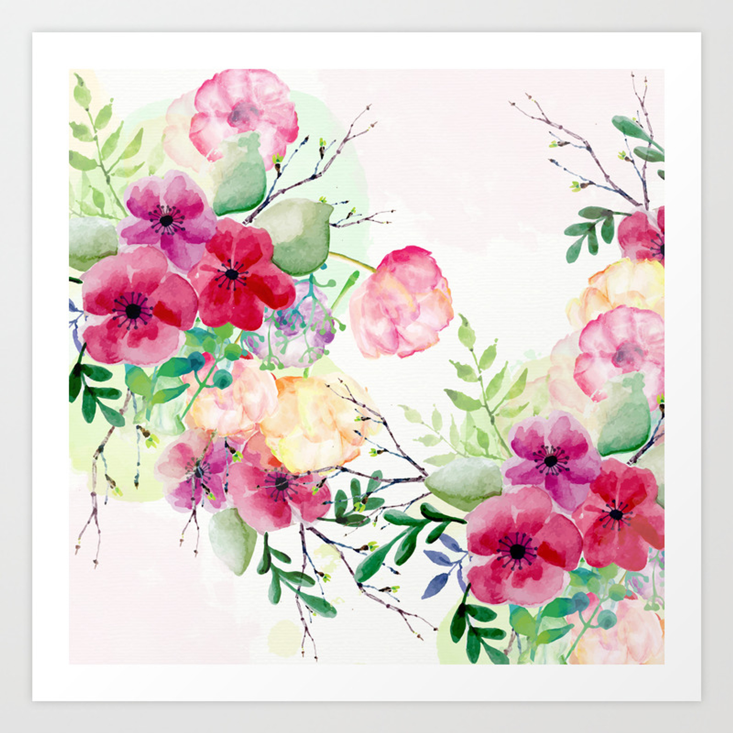 Vintage Flowers Watercolor Floral Painting Art Print By Cadinera