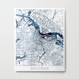 Amsterdam Map Blue Watercolor by Zouzounio Art Metal Print