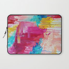 ELATED - Beautiful Bright Colorful Modern Abstract Painting Wild Rainbow Pastel Pink Color Laptop Sleeve