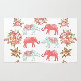 Pink and blue elephants Rug