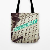 broadway Tote Bags featuring Broadway  by Carmen Moreno Photography