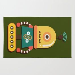 Quirky Retro Robot Toy Rug