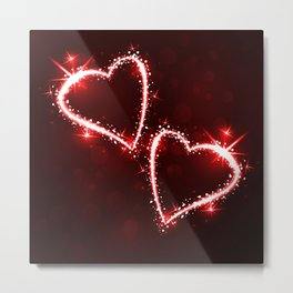 Sparkling 2 red hearts Metal Print