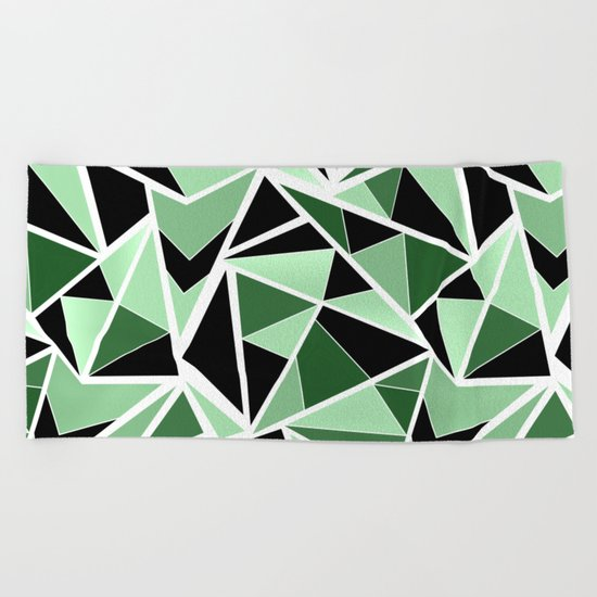 Abstract geometric pattern in black and green tones .Triangles . Beach Towel