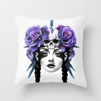 purple Throw Pillows featuring New Way Warrior by Ruben Ireland