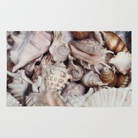 seashell Area & Throw Rugs featuring seashell by Pink Revenge