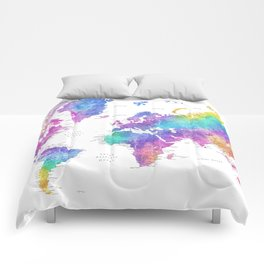 """Bright watercolor world map with cities. """"Syris"""" Comforters"""
