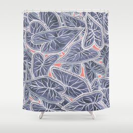 Tropical Caladium Leaves Pattern - Purple Gray Coral Shower Curtain