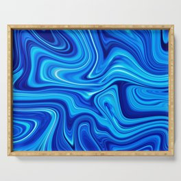 Ocean blue marble Serving Tray