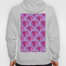 Watercolor Moroccan Quatrefoils in Magenta Pink and Blue Hoody