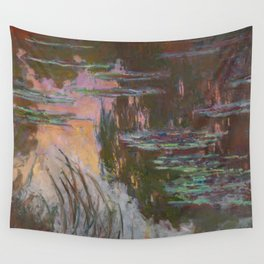 Water Lilies - Setting Sun by Claude Monet Wall Tapestry