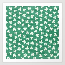 DANCING SHAMROCKS on green Art Print