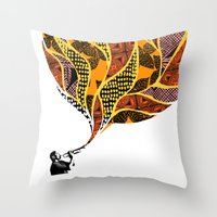 trumpet Throw Pillows featuring Trumpet by VickiJohnson