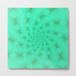 Tess Fractal in Honeydew Metal Print