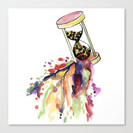 Hourglass with watercolor balls Canvas Print