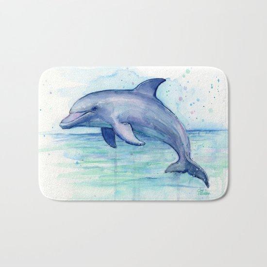 Dolphin Watercolor Sea Creature Animal Bath Mat