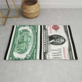 1928 Red Seal Jefferson Two Dollar Bill Bank Note Rug