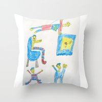 workout Throw Pillows featuring Dad's Workout Time by Dozer and Beans