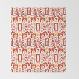 Swedish Folk Art_Mid-Century Modern Throw Blanket