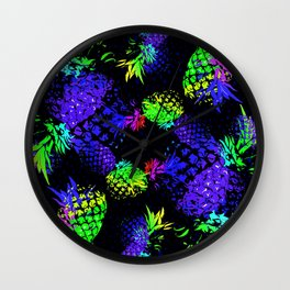 abstract pineapples in neon colors Wall Clock