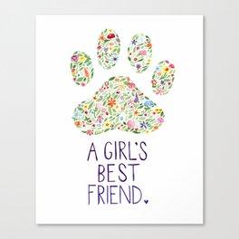 A Girl's Best Friend Floral Watercolor Canvas Print