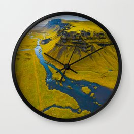 Scandinavian Grassland Landscape Dark Navy Rivers Aerial View photo Wall Clock