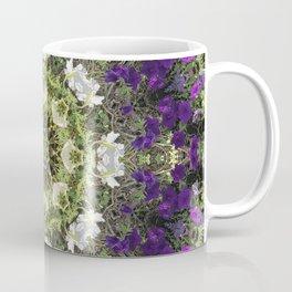 Icy White and Rich Violet Petunias Kaleidoscope Coffee Mug