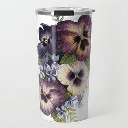 Watercolor Pansy Bouquet Travel Mug