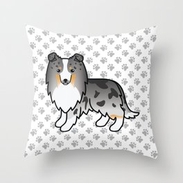 Blue Merle Shetland Sheepdog Dog Cartoon Illustration Throw Pillow