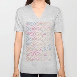 Pastel Deco Hexagon Pattern - Gold, pink & grey #pastelvibes #pattern #deco Unisex V-Neck