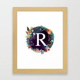 Personalized Monogram Initial Letter R Floral Wreath Artwork Framed Art Print