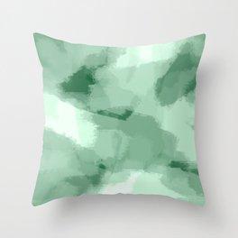 Saige - Green abstract art Throw Pillow