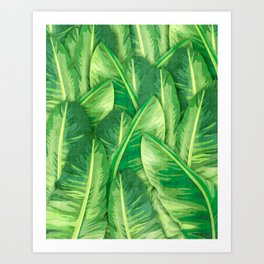 Banana Leaf 1 - Banana Leaf Pattern 1 - Tropical Leaf Print - Botanical Art - Green Art Print